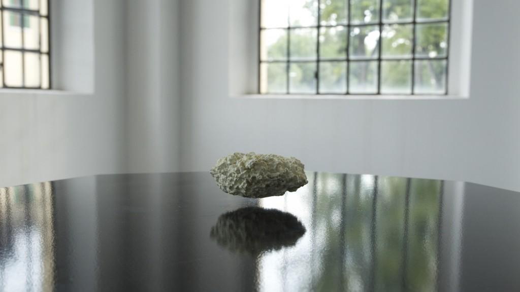 [Electromagnetic fields, sponge, inox 304, phosphor, wood pedestal, 130x62x62 cm]