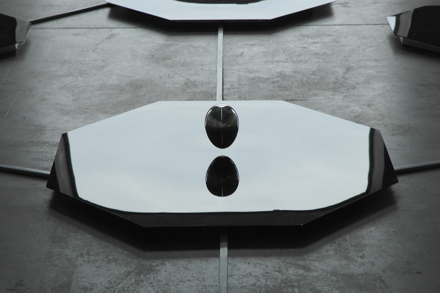 [Electromagnetic fields, luminescent sponges, egg  in polished aluminium, black Plexiglass, lambda prints, 30 m².]